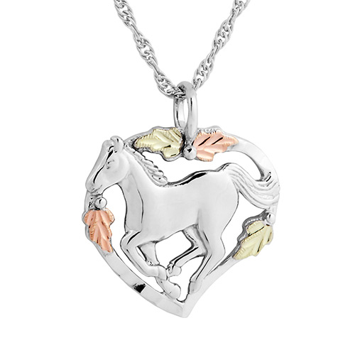 Black Hills Silver Horse in Heart Pendant