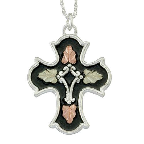 Antiqued Black Hills Gold Cross Pendant in Sterlin...