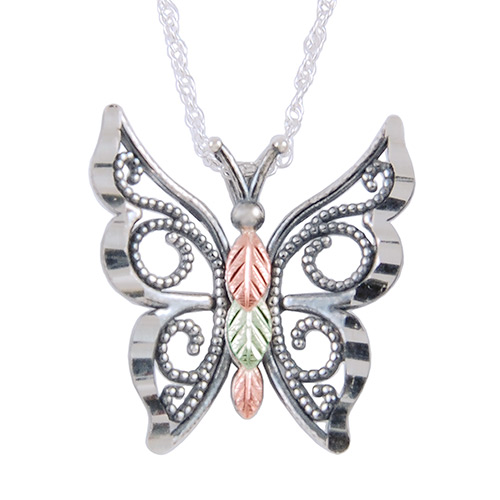 Butterfly Oxidised Black Hills Silver  Pendant