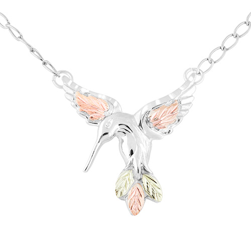 Black Hills Gold Humming Bird Necklace in Sterling...