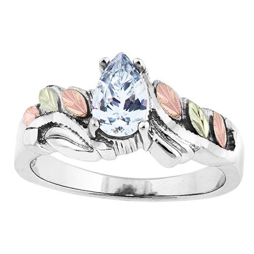 Cubic Zirconia Black Hills Silver  Ring