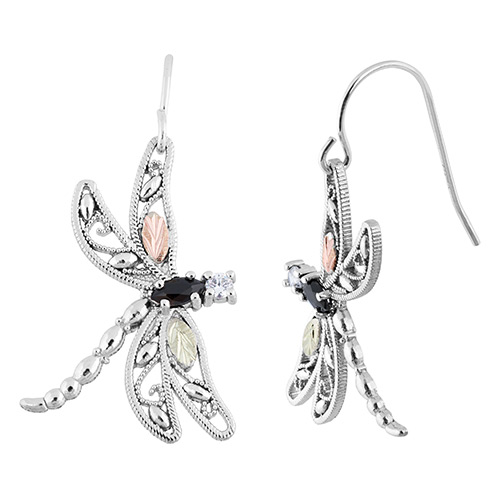 Black Hills Silver Dragonfly Earrings with Onyx an...