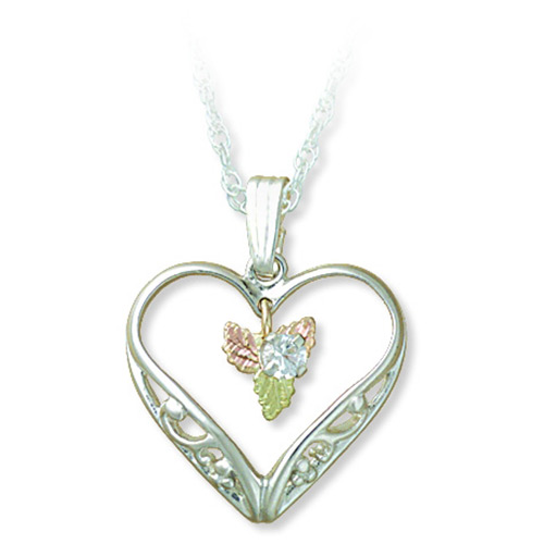 Heart Necklace with 3 MM White Sapphire and Black ...