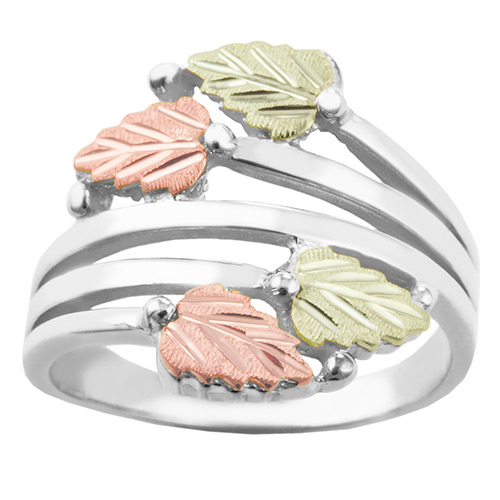 Black Hills Gold Layered Vines Ring in Sterling Si...