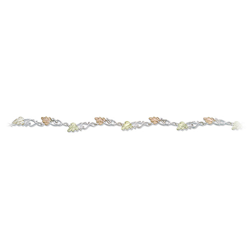 Silver Wave Bracelets with Black Hills Leaves