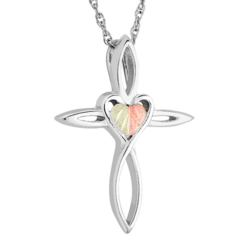 Black Hills Sterling Silver Cross Heart Pendant Ne...