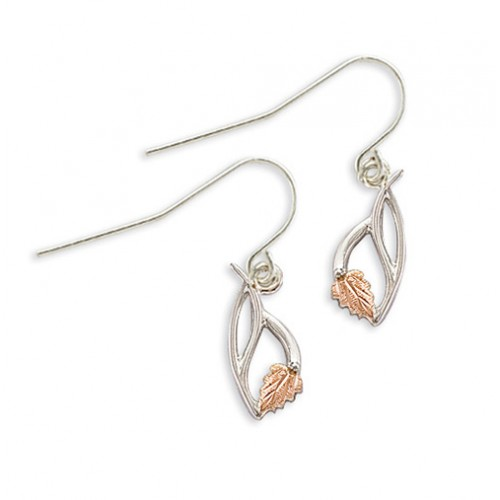 Silver Earrings with 12K Gold Leaves and Shepherd ...