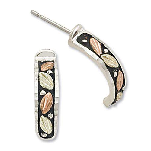 Antiqued Semi Hoop Silver Earrings