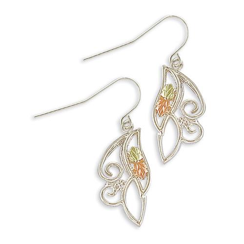 Silver Shepherd Hook Back Earrings with 12K Gold L...
