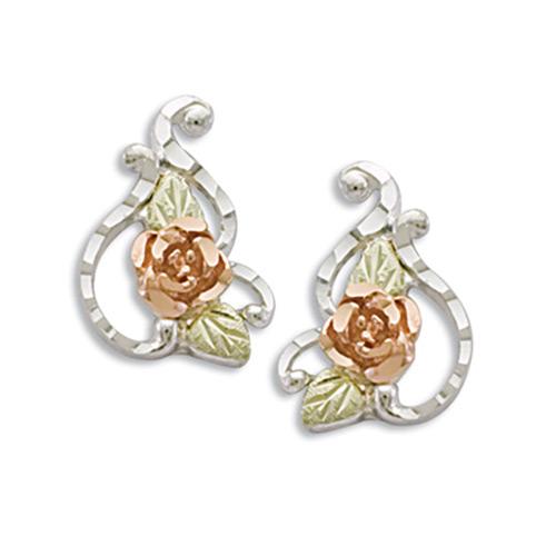 Rose Flower Silver Earrings