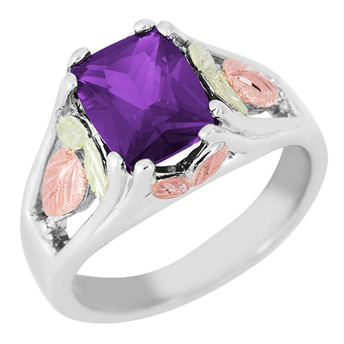 Synthetic Amethyst Black Hills Silver Ring
