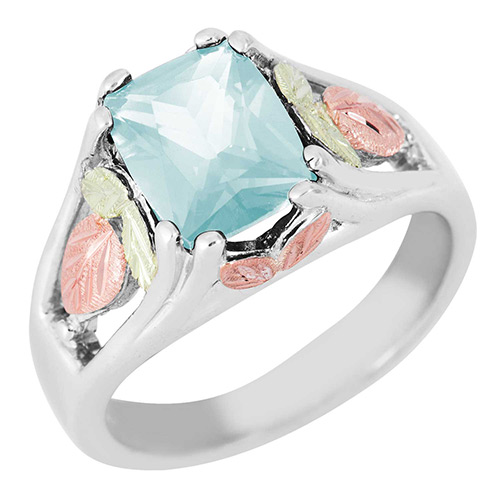 Synthetic Aquamarine Black Hills Silver Ring