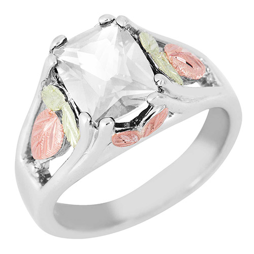 Synthetic White Spinel Black Hills Silver Ring