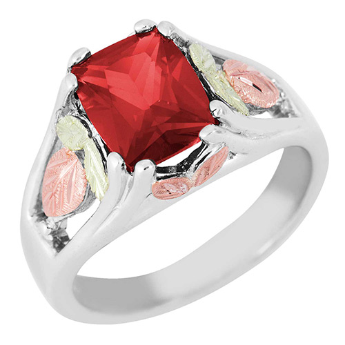 Synthetic Ruby Black Hills Silver Ring