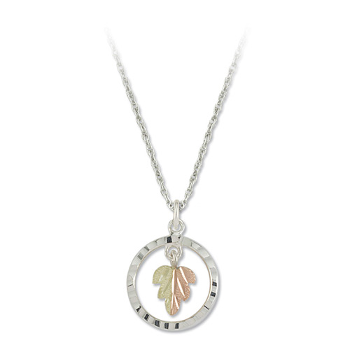 Split Leaf Sterling Silver Black Hills Gold Pendan...