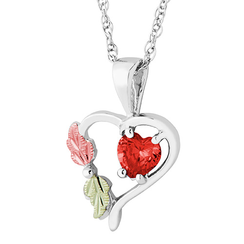 Heart Pendant with January Birthstone