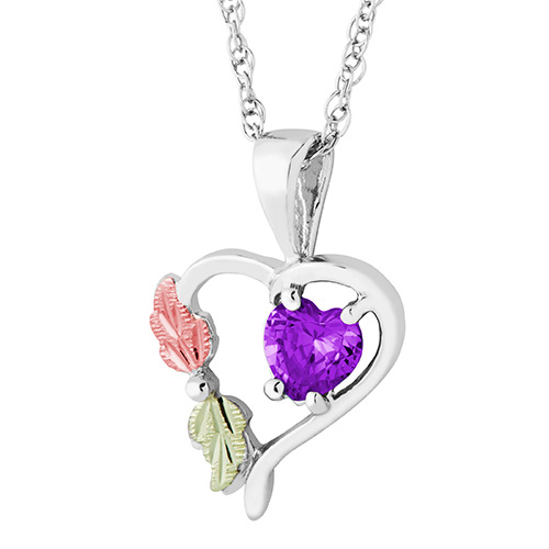 Heart Pendant with February Birthstone