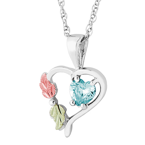 Heart Pendant with March Birthstone