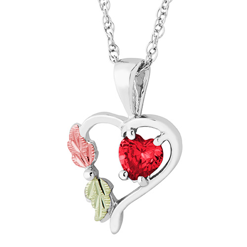 Heart Pendant with July Birthstone