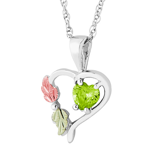 Heart Pendant with August Birthstone