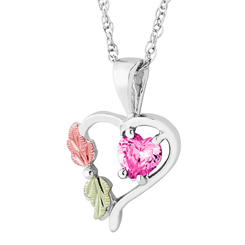 Heart Pendant with October Birthstone