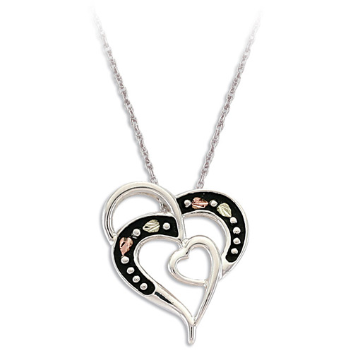Antiqued Double Heart Pendant Necklace