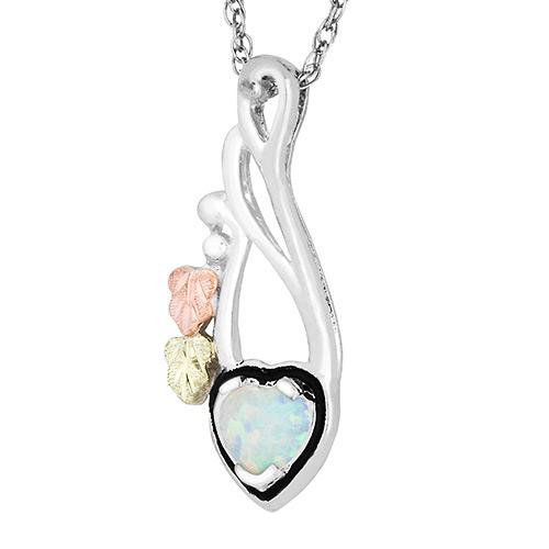 Opal Heart Pendant Necklace