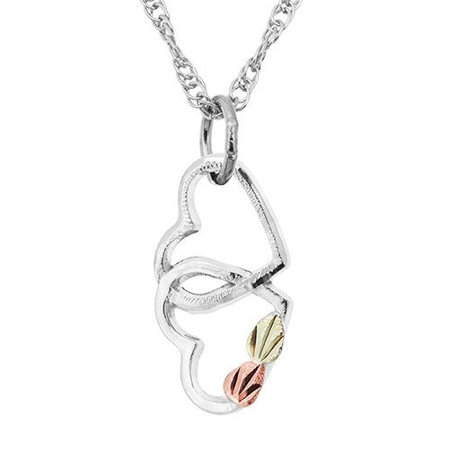 Double Heart Interlocking Pendant Necklace