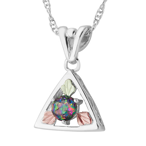 Black Hills Gold Mystic Fire Pendant in Sterling S...