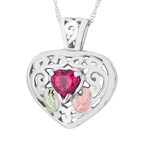 Black Hills Gold Garnet Heart Pendant in Sterling ...