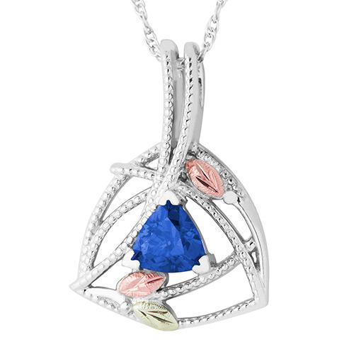 Black Hills Gold Blue Sapphire Pendant in Sterling...