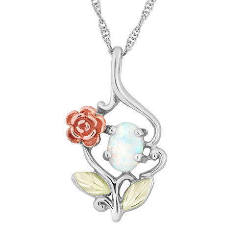 Opal Silver Pendant with Rose