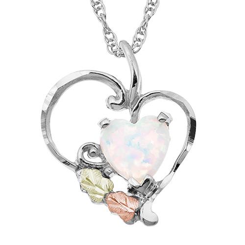 Heart Opal Silver Pendant