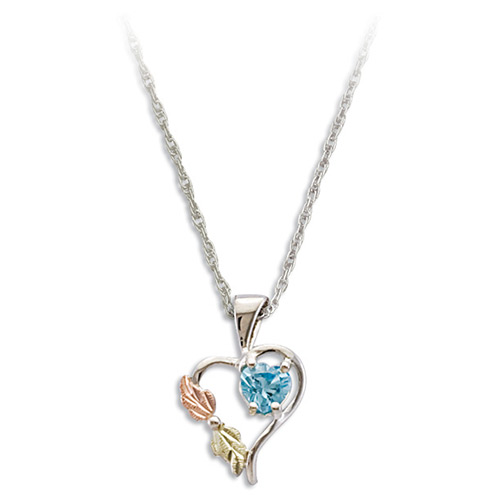 Black Hills Silver Heart Pendant with Swiss Blue C...