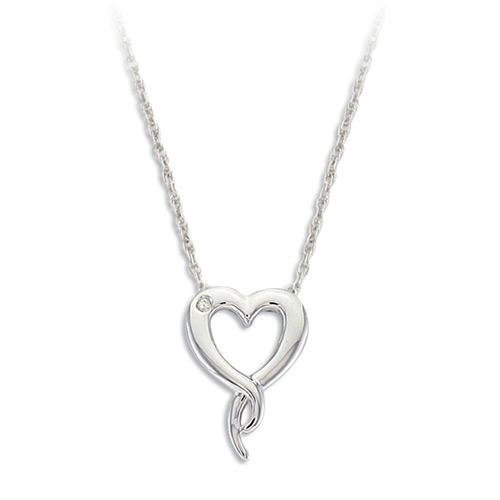Diamond Heart Silver Pendant